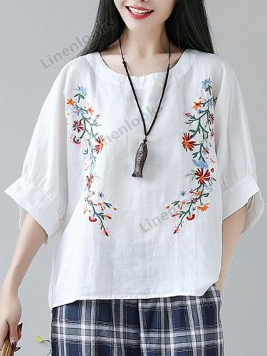 New Summer Women Plus Size Loose Flower Print Half Lantern Sleeve Tops