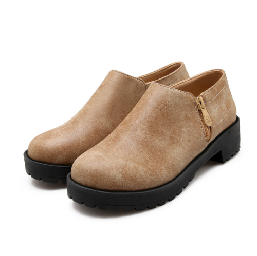Brown PU Daily Chunky Heel Zipper Boots