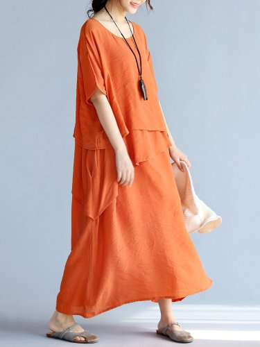 Casual Crew Neck Half Sleeve H-line Solid Maxi Linen Dress