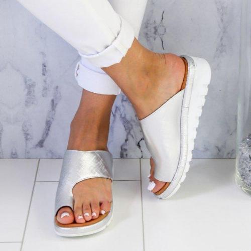Women Casual Sliver Sandals Comfy Low Heel Open Toe Platform Shoes