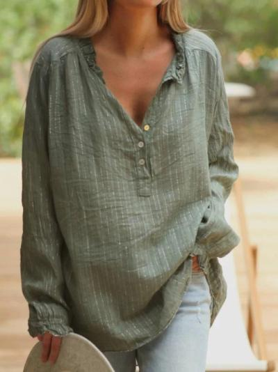 Long Sleeve V Neck Shirts & Tops