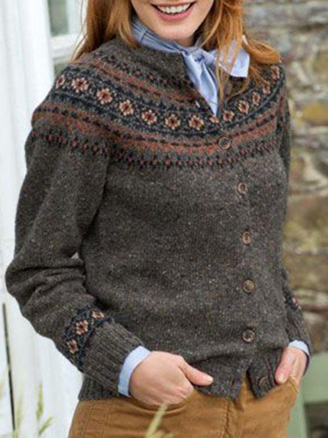 Color-Block Cotton Vintage Long Sleeve Cardigan