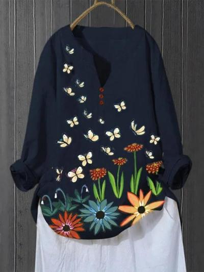 Dark Blue Pastoral Cotton-Blend Shirts & Tops