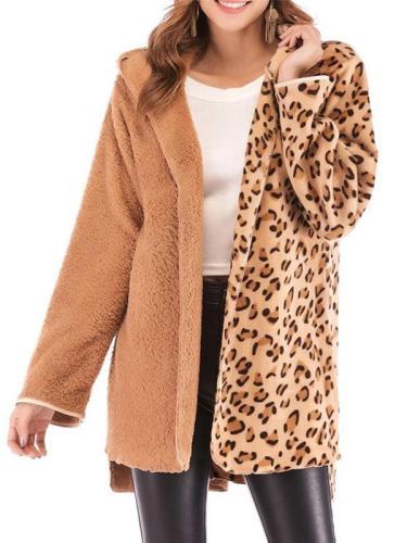 Fashion Leopard Print Hoodie Cardigan