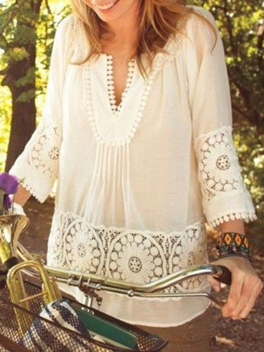 White Guipure Lace 3/4 Sleeve Shirts & Tops