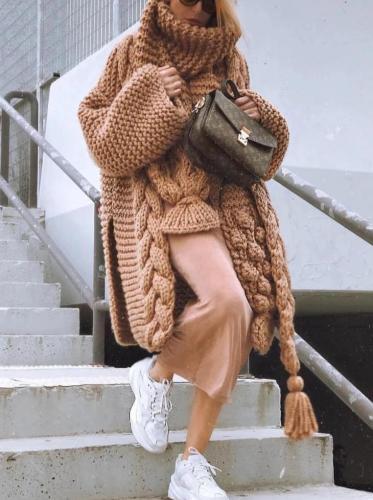 Fashion Pile Collar Solid Color Twist Irregular Sweater