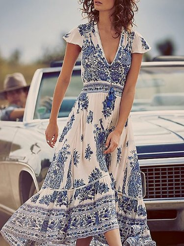 Women Print Dress Swing Daytime Slit Floral Dress