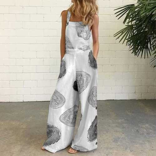 Vintage Printed Jumpsuit Sexy Sleeveless Cotton Linen Overalls Summer Wide Leg Rompers