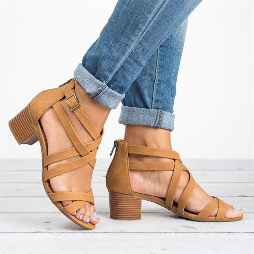 Women Fashion Criss Cross Strap Block Heel Casual Sandals