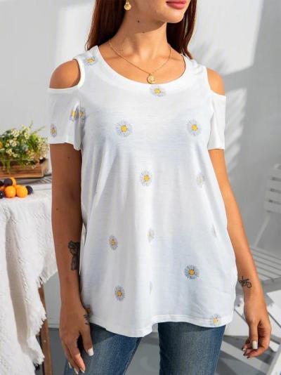 Off Shoulder Short Sleeve Floral Casual Shirts & Tops