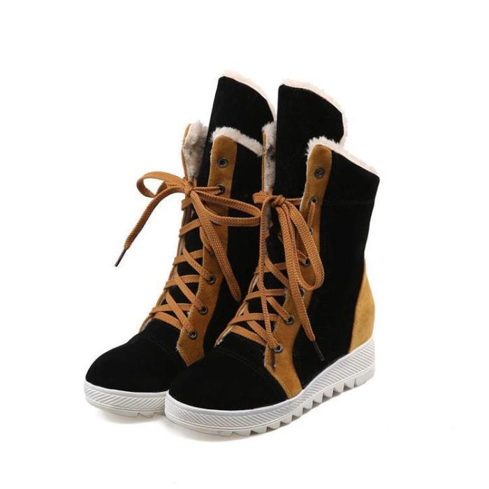 Warm Vintage Platform Daily Color Block Suede Boots