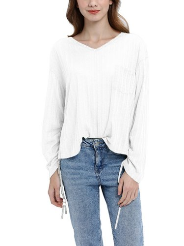 Cotton Long Sleeve V Neck Shirts & Tops