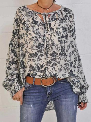 V Neck Chiffon Casual Floral-Print Shirts & Tops