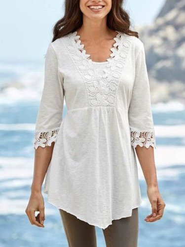 Casual Cotton-Blend Half Sleeve Shirts & Tops