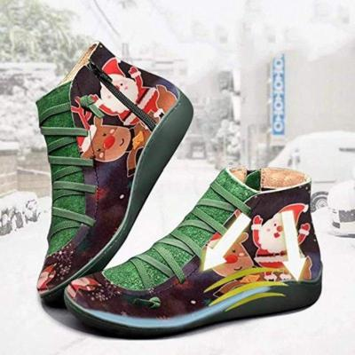 Women's Printed Flat Heel Casual ANkle Boots