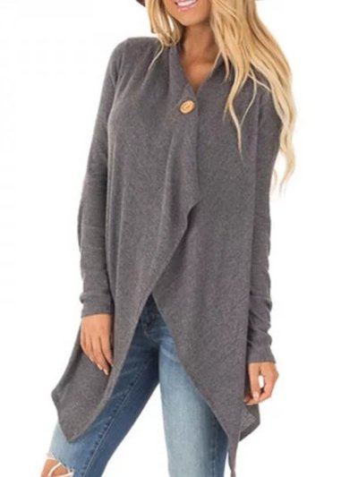 Gray Solid Casual Asymmetrical Patch Coat