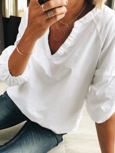 Casual 3/4 Sleeve V Neck Solid Shirts & Tops