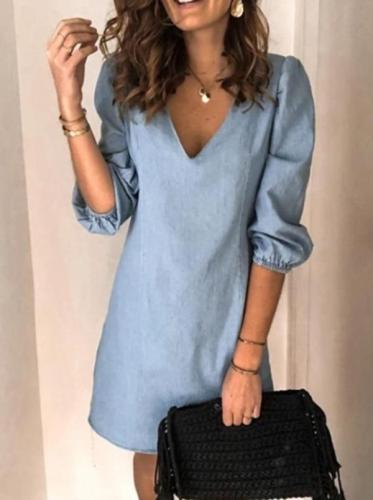 V-Neck A-Line Dress 2020 Vintage Solid Color Half-Sleeve Mini Dresses Ladies Autumn Casual Loose Dress