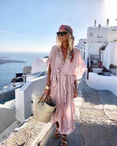 Women Summer Dress Daily Solid Pink Dress