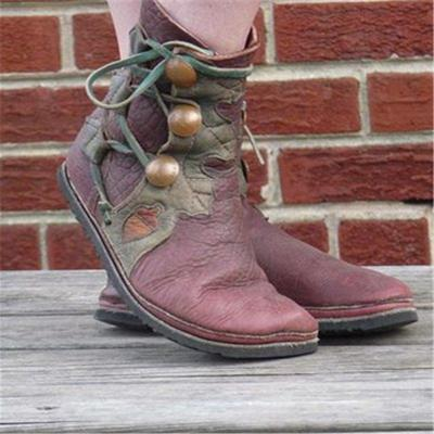 Women Casual Lace-Up Flat Heel Soft Leather Ankle Boots