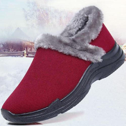 Women Athletic Thicken Mesh Fabric Slip on Boots Winter Warm Snow Booties