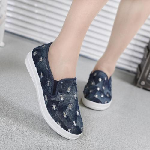 Women Flat Denim Loafers Casual Slip On Shoes
