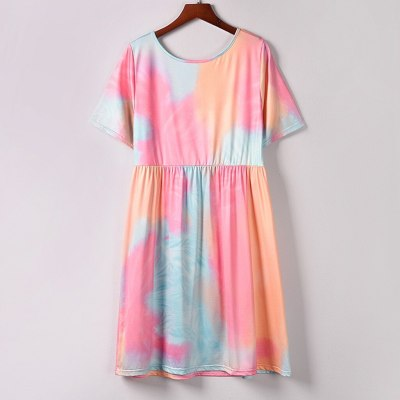 Tie-Dyed Print Short Dress Pockets Beach Swing Dress Sundress Women Casual Evening Party Dress