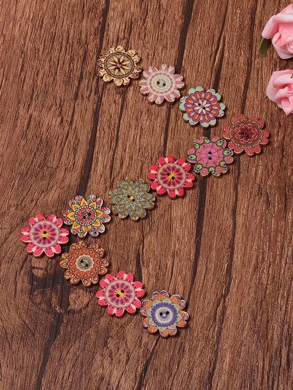 About 100Pcs Multi-Color Floral Pattern Buttons