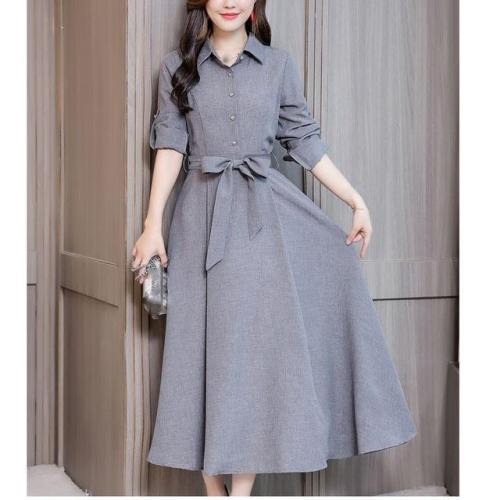 FashionTurn-Down Collar Plus Size Cotton Linen Dress