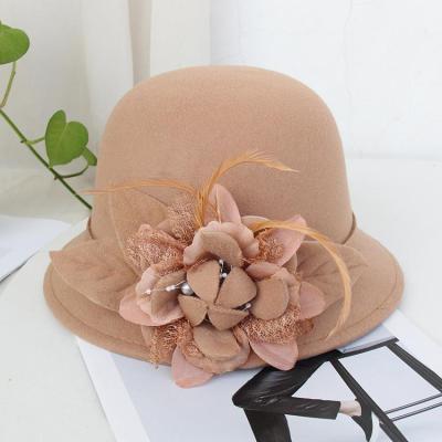 Fisherman Hat Female Retro Feather Flowers Woolen Elegant Felt Hat
