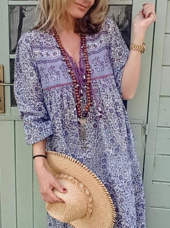 Purple V Neck 3/4 Sleeve Cotton-Blend Shift Dresses