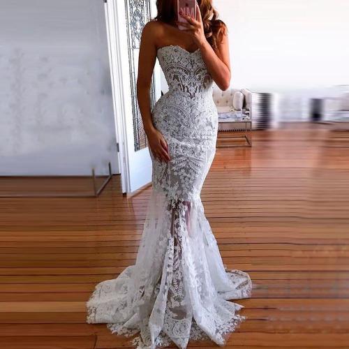 Fashion Off-Shoulder   Lace Sleeveless Evening Dress