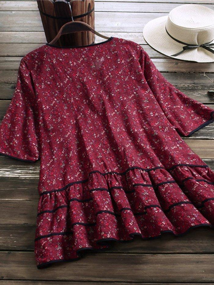 Half Sleeve Sweet V Neck Patchwork Shirts & Tops