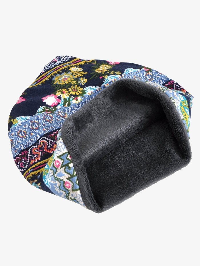 Retro Tribal Printed Cotton Fleece Dual Use Scarf Beanie Hat