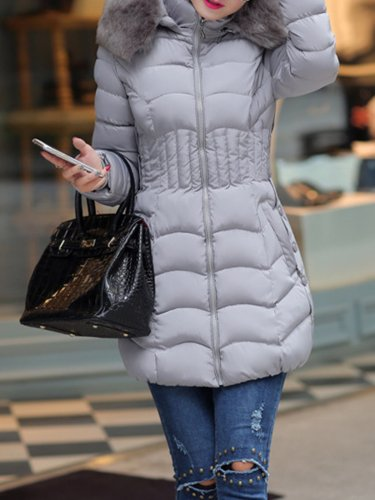 Furry Collar Long Sleeve Casual Coats With Zipper