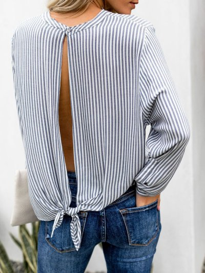 Blue Crew Neck Striped Casual Blouse