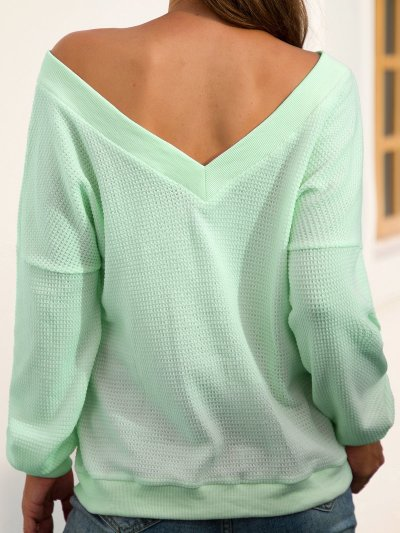 Casual V Neck Long Sleeve Solid Backless Sweaters