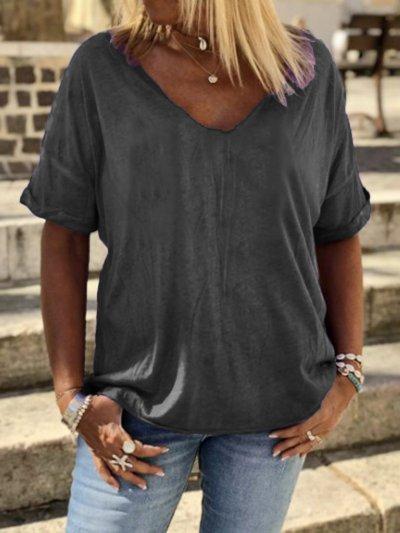 Plain Cotton-Blend V Neck Casual Shirts & Tops