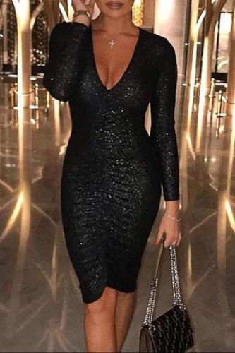 Sexy Deep V Sequins Long Sleeve  Bodycon Dresses