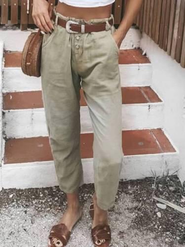 Light Brown Cotton-Blend Casual Pants