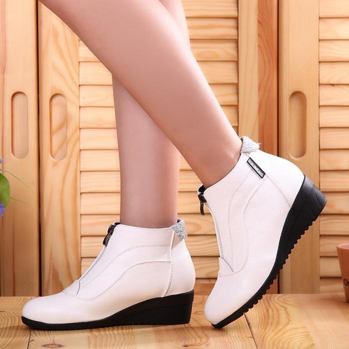 Women PU Booties Casual Comfort Zipper Low Wedge Heel Shoes