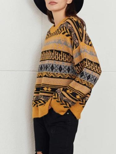Yellow Shift Knitted Casual Geometric Sweater