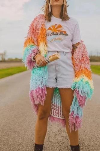 Fashion Colorblock Long Plush Cardigan Coat
