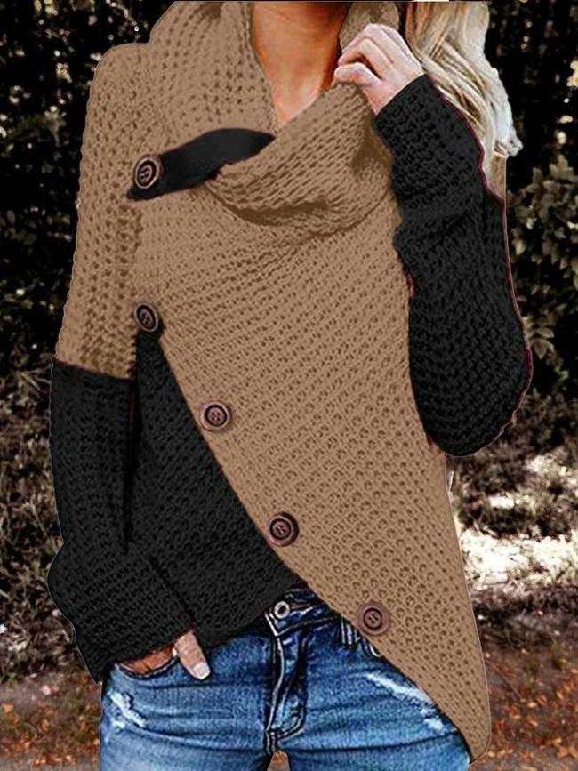 Color-Block Buttoned Turtleneck Long Sleeve Casual Sweatshirt