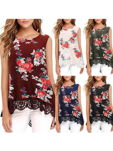 Women Casual Printed Tops Tunic Tanks Vest