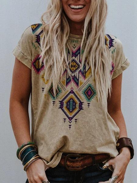 Geometric Short Sleeve Printed Shirts & Tops