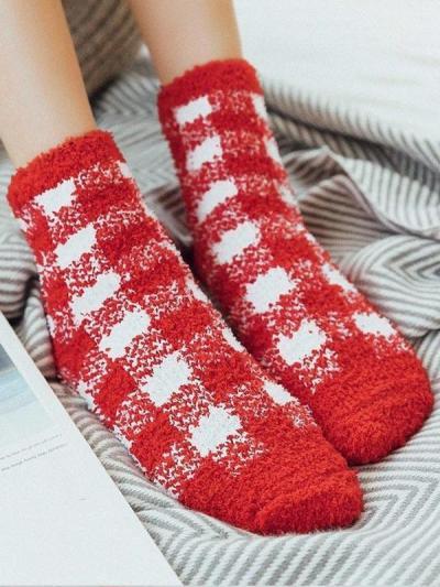 Winter Warm Socks with Plaid