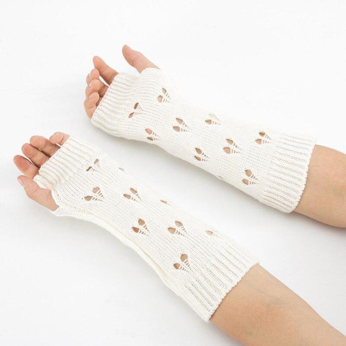 Warmer Winter Gloves Women Arm Crochet Knitting Hollow Heart Mitten Warm Fingerless Gloves