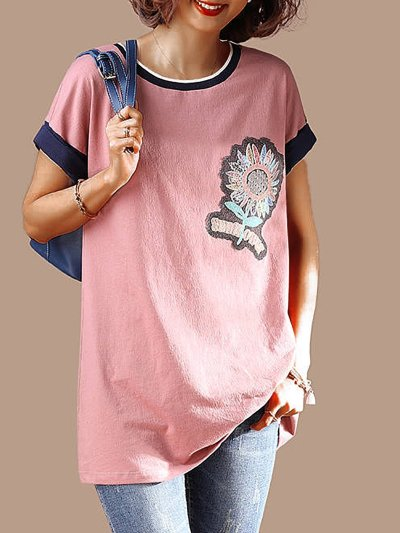 Plus Size Women Cotton Casual  Floral  Short Sleeved Loose Top