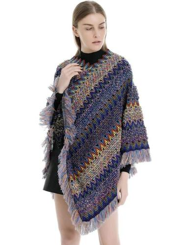 Womens Stripe Knitted Cape with Tassels Scarves